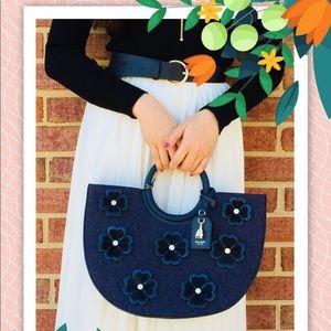 NWT Kate Spade Floral Blue circle handbag tote bag